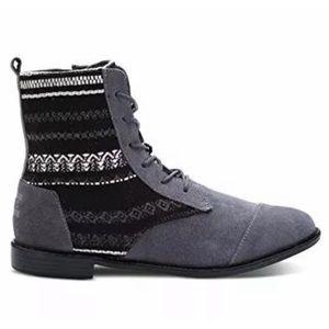 TOMS Alpa Combat Boots Suede Fabric Size 9